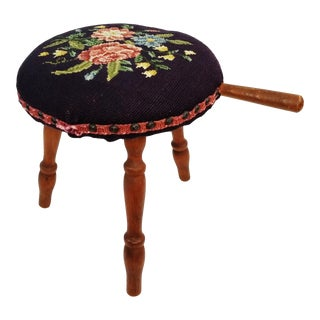 Vintage Floral Needlepoint Wooden Milking Milkmaid Stool For Sale