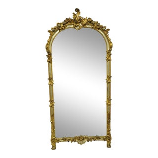 Louis XV French Rococo Style Gold & Silver Giltwood Trumeau Mirror For Sale