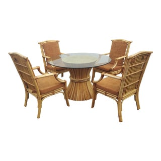 Vintage Chinoiserie Boho Chic Split Reed Rattan Patio Set - 5 Pieces For Sale