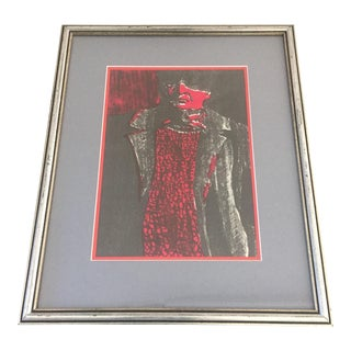 Vintage Original Man in Red & Grey Lithograph Print