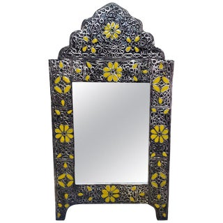 Moroccan Ultra Arched Metal Inlaid Mirror, Rabat, Yellow Motif For Sale