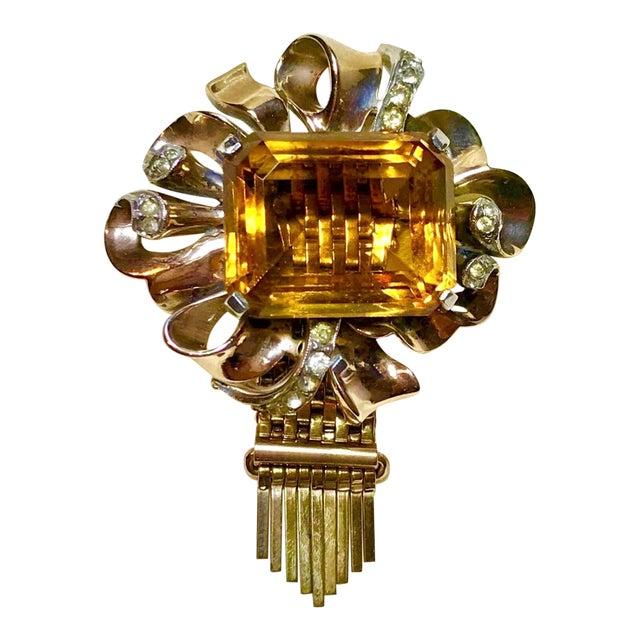 Kreisler Gold Plated Sterling & Topaz Glass Tassel Brooch, 1940s For Sale