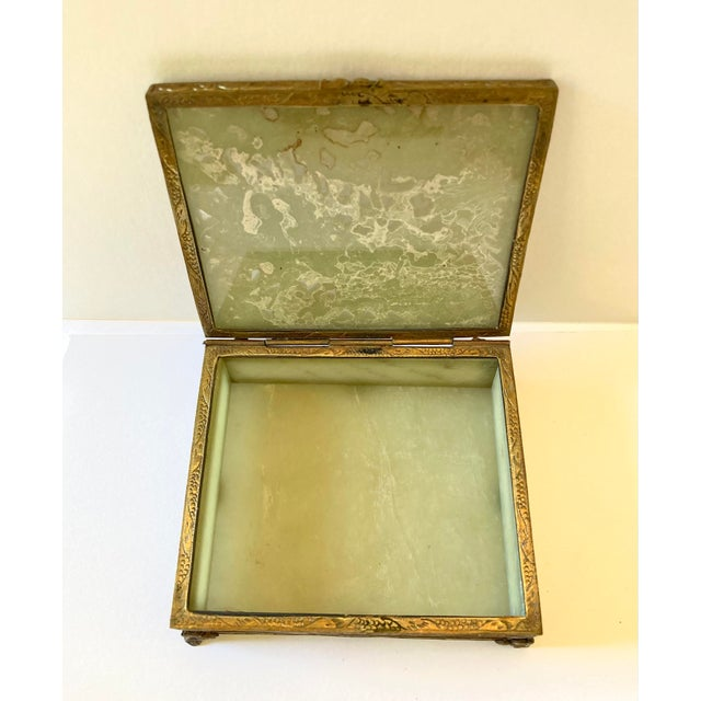 Brass Antique Chinese Jade & Brass Box For Sale - Image 8 of 9