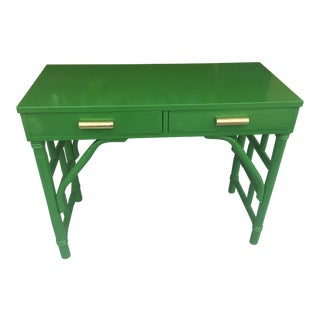 Green High Gloss Bamboo Rattan Desk For Sale