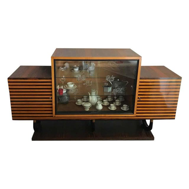 1930s Italian Art Deco Oak Rosewood and Mahogany Sideboard For Sale