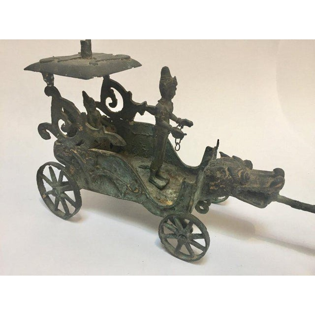 Metal Antique Asian Bronze Chariot With Dragon Head Pulled by Horses For Sale - Image 7 of 13