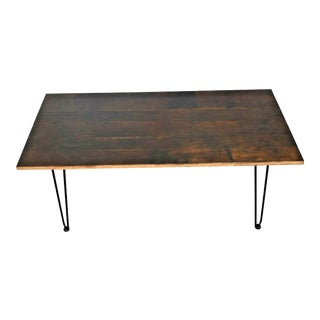 Arts and Crafts Reclaimed Tiger Oak and Wrought Iron Coffee Table For Sale