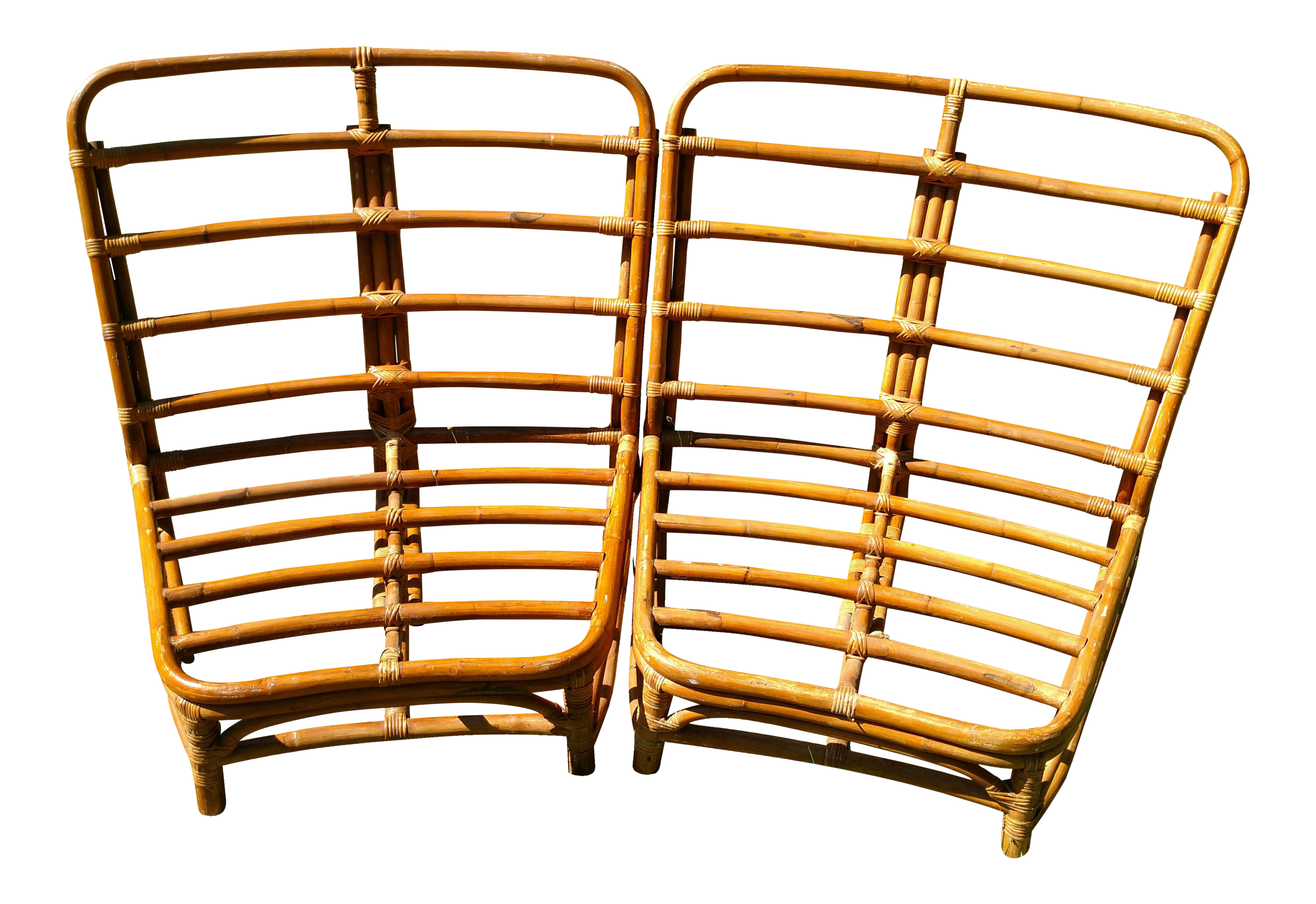 Vintage Bamboo Rattan Crescent Sectional Loveseat Chairs   A Pair