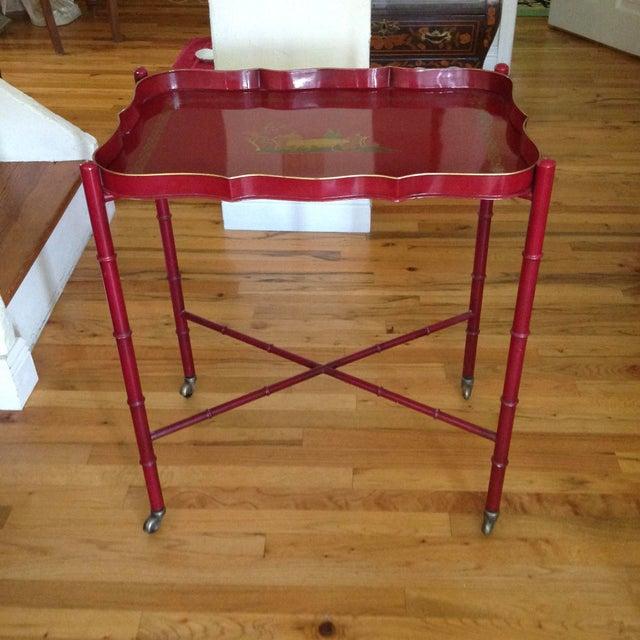 Asian Superb Chinoiserie Style Tole Tray Table on Original Stand For Sale - Image 3 of 13