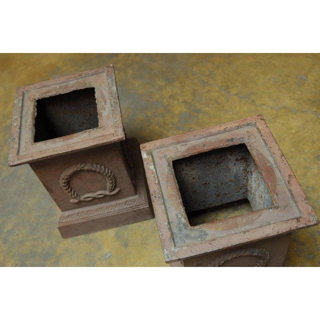 Neoclassical Cast Iron Pedestals or Urns - a Pair For Sale - Image 10 of 10