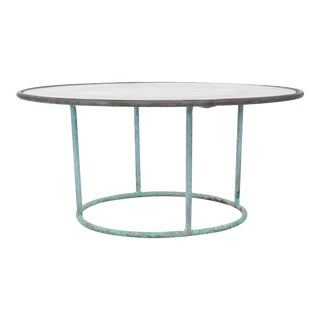 Walter Lamb Round Coffee Table with Hammered Glass Top