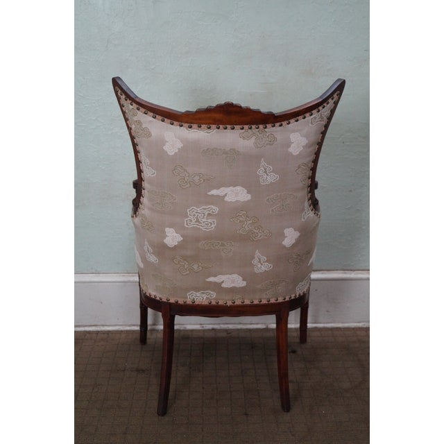 Vintage Chinese Chippendale Style Wing Chair - Image 4 of 10