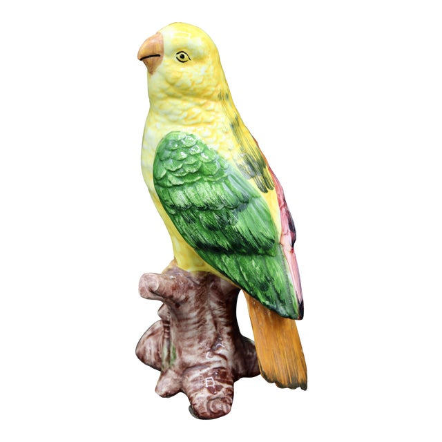1960s Yellow and Green Italian Majolica Ceramic Parrot Figurine For Sale