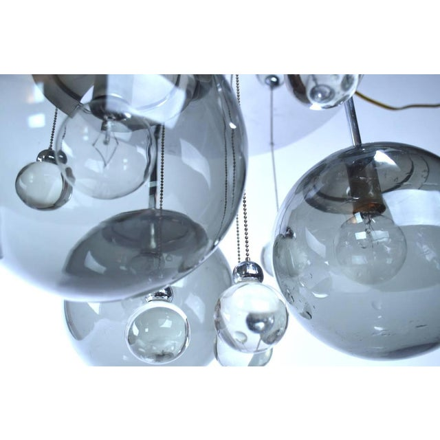 Lightolier Chrome Lightolier Flush Mount Bubble Chandelier For Sale - Image 4 of 8