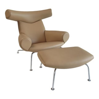 "1960s Vintage Hans Wegner Original Ej100 ""Ox"" Lounge Chair and Ottoman W/Italian Full Grain Camel Leather For Sale"