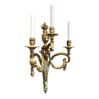Pair Antique French Louis XVI Bronze d'Ore Wall Sconces, Circa 1860. For Sale