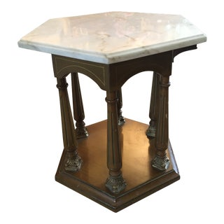 1950s Mid-Century Modern Stone White Marble Side Table
