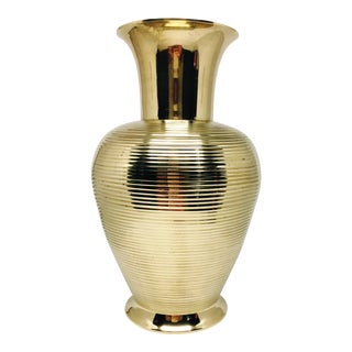 Vintage Modernism Ribbed Texture Brass Vase For Sale