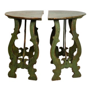Italian 19th Century Carved and Painted Demilune Tables - a Pair