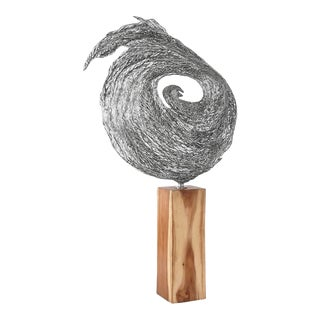 Phillips Collection Nebula Sculpture on Stand, Metal, Chamcha Wood For Sale