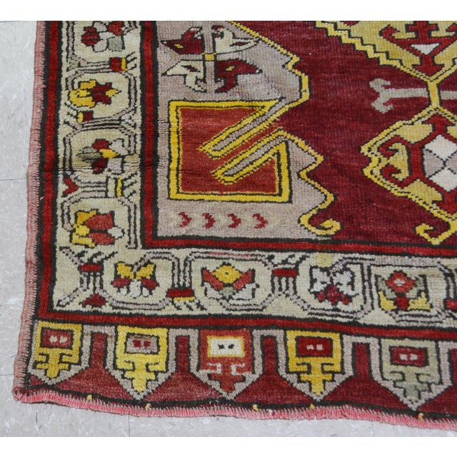 "1950s Vintage Turkish Rug,4'x10'9"" For Sale - Image 5 of 6"
