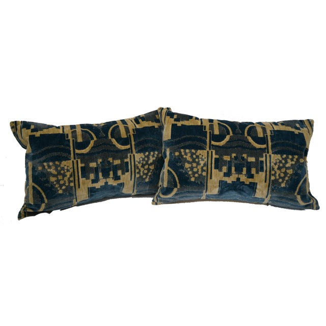 Incredibly Chic Art Deco style cotton blend velvet pair of Lumbar pillows from the famous Luigi Bevilacqua mill in Milan....