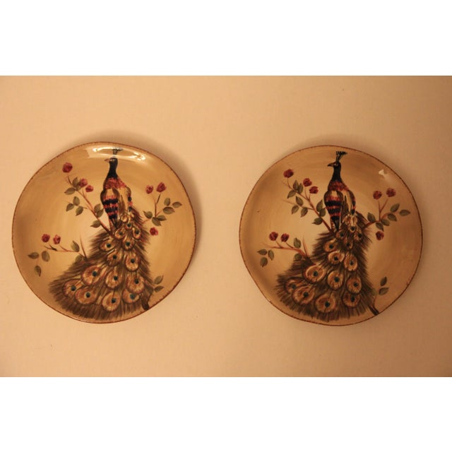 Hand Painted & Hand Crafted Peacock Plates - A Pair - Image 2 of 5