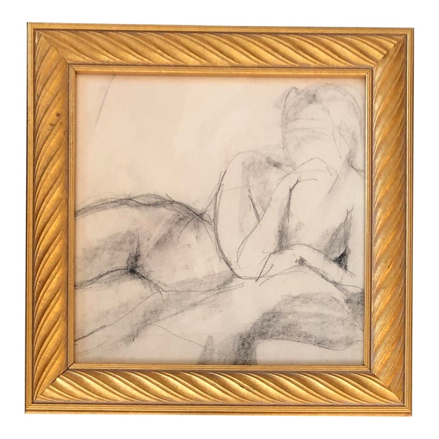 Original Vintage Female Nude Charcoal Study Drawing For Sale