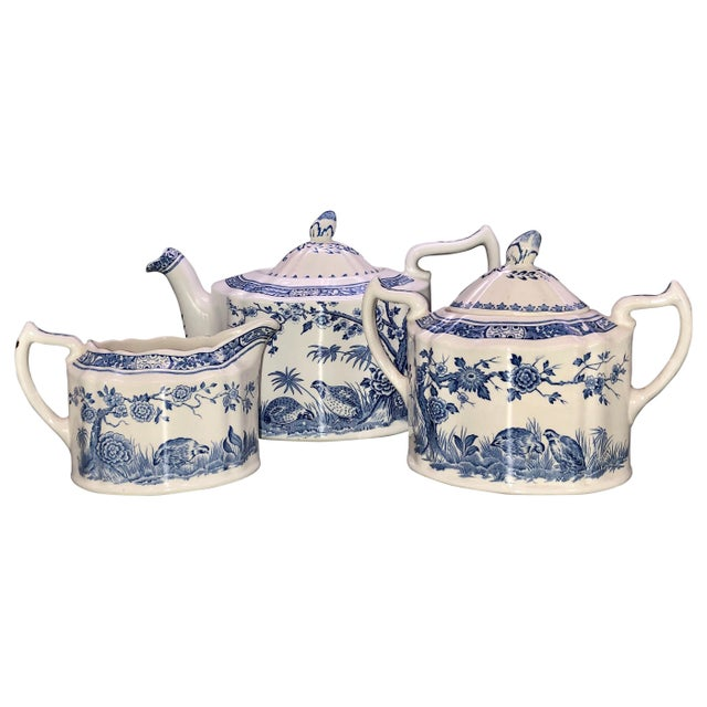 Blue and White Furnivals Quail 1913 Pottery Teapot, Creamer and Sugar Bowl Set For Sale - Image 13 of 13