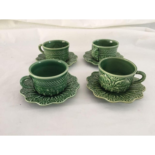 Green Bordallo Pinheiro Green Majolica Teacups & Saucers - Set of 4 For Sale - Image 8 of 8