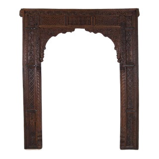 Late 19th Century Antique Heavily Carved Teak Doorway For Sale