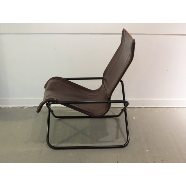 Vintage MCM Uchida Leather Sling Chair For Sale - Image 5 of 11