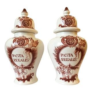 Cinnamon Delft Ginger Jars, Pair For Sale