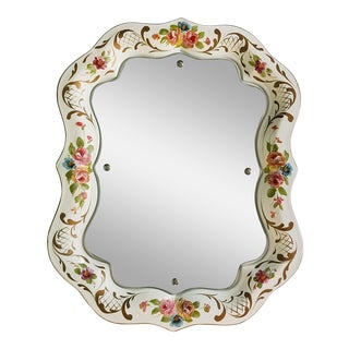 Mid 20th Century Hand Painted Tole Tray Floral Motif Mirror