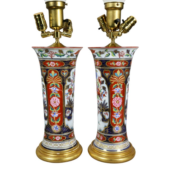 Pair of Victorian Imari Pattern Table Lamps For Sale - Image 9 of 11