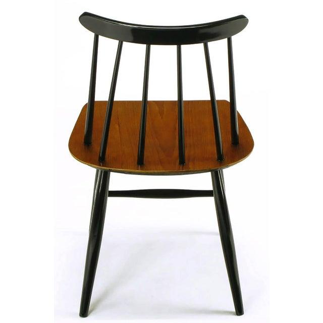 Teak Six Ilmari Tapiovaara Teak and Black Lacquer Dining Chairs For Sale - Image 7 of 9