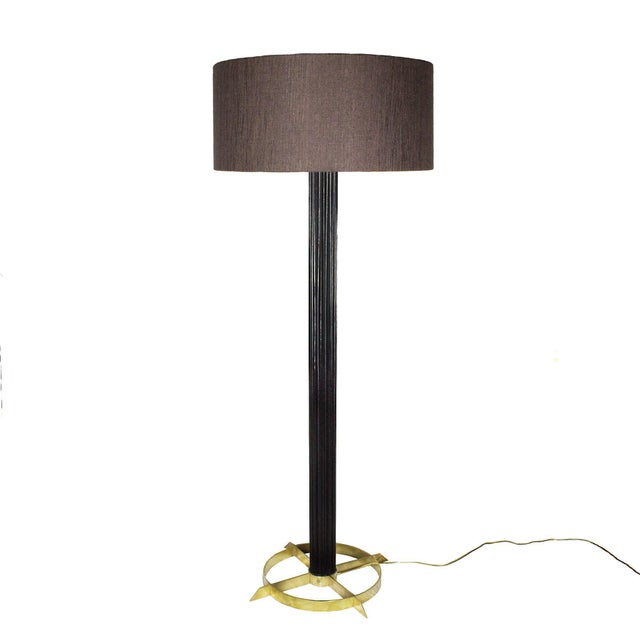 Standing lamp with stained and waxed striated walnut stand and solid brass base. Redone double lightning system. Taupe...