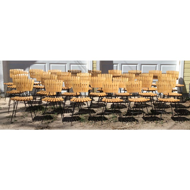 Arthur Umanoff Slatted Wood & Iron Chairs - Set of 30 For Sale - Image 13 of 13