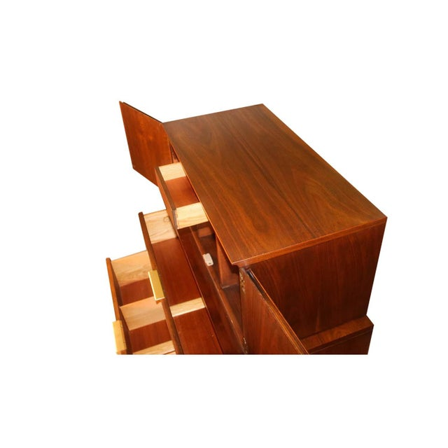 Mid-Century Modern John Stuart Mid Century Highboy Walnut Dresser For Sale - Image 3 of 13