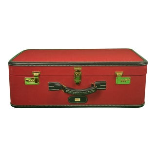 1960s Traditional T Anthony Suitcase w/ TWA Label For Sale