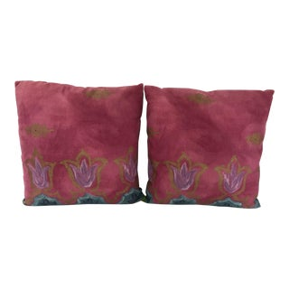Osborn & Little Fuchsia Fabric Newly Made Custom Pillows - a Pair For Sale