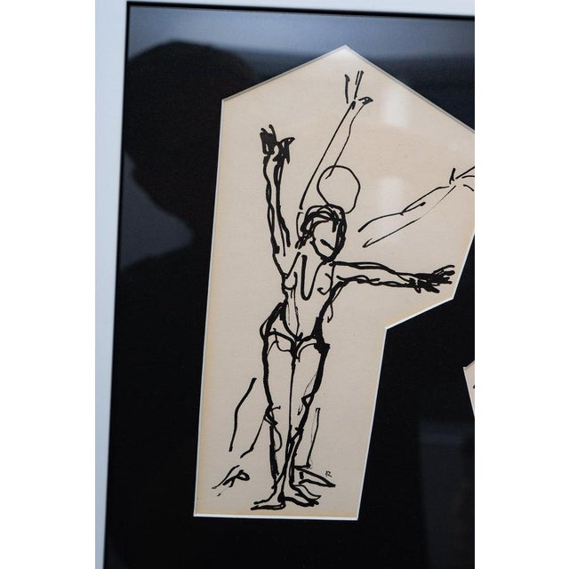 1950s Ink Sketches of Dancers in Position - Set of 3 Framed Groups For Sale - Image 5 of 13