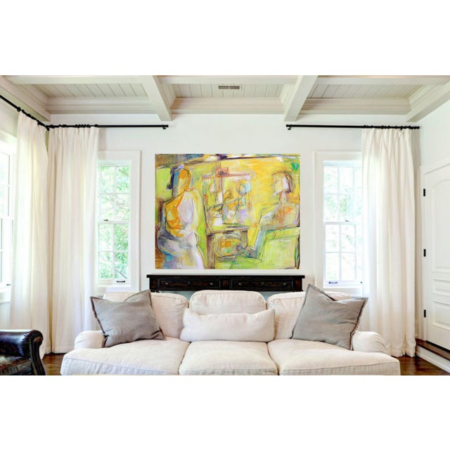 """White """"Artist and Model"""" by Trixie Pitts Extra-Large Abstract Oil Painting For Sale - Image 8 of 11"""