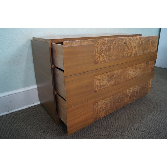 Mid-Century Burl Wood Dressers - A Pair For Sale - Image 7 of 10