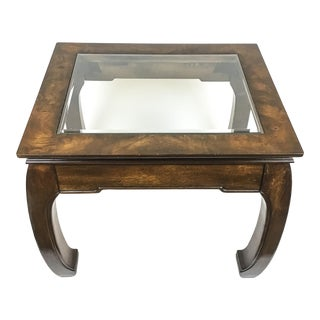 Solid Wood Glass Top Asian Ming Style Side Table by Baker For Sale