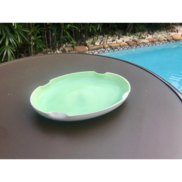 French Vintage Mid-Century Mint Green Ceramic Quatrefoil Tray or Dish For Sale - Image 3 of 13