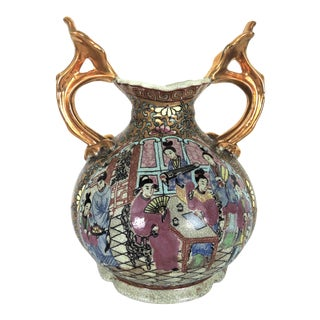 Mid 20th Century Chinese 'Rose Mandarin' Crackleware Double Handled Gilt Porcelain Vase For Sale