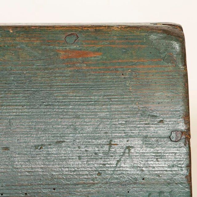 Antique Original Blue Painted Small Trunk Dated 1788 From Sweden For Sale - Image 12 of 13