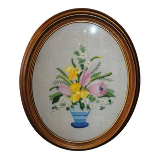 Vintage Tulips & Daffodils in a Blue Vase Crewel Embroidery Textile Art For Sale