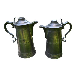 Early 1800s Pewter Communion Flagons - a Pair For Sale